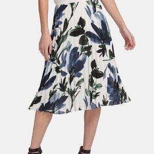 DKNY Pleated A Line Floral Print Midi Skirt 14